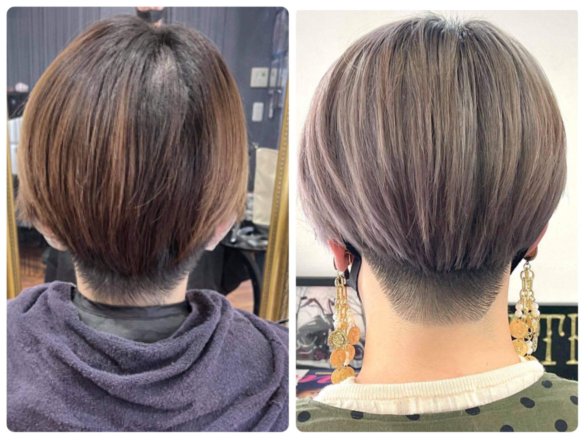 ショート バレイヤージュカラーの髪型・髪色
