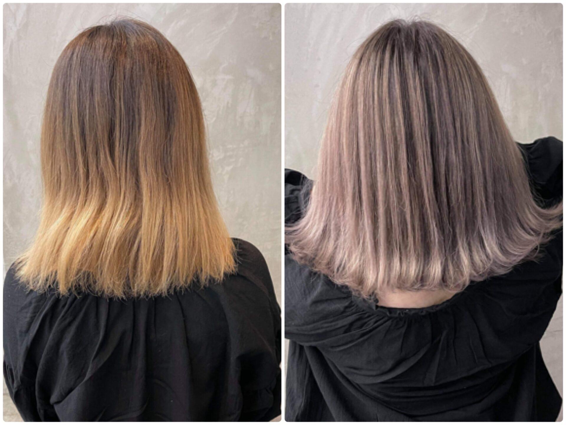 ミディアム バレイヤージュの髪型・髪色