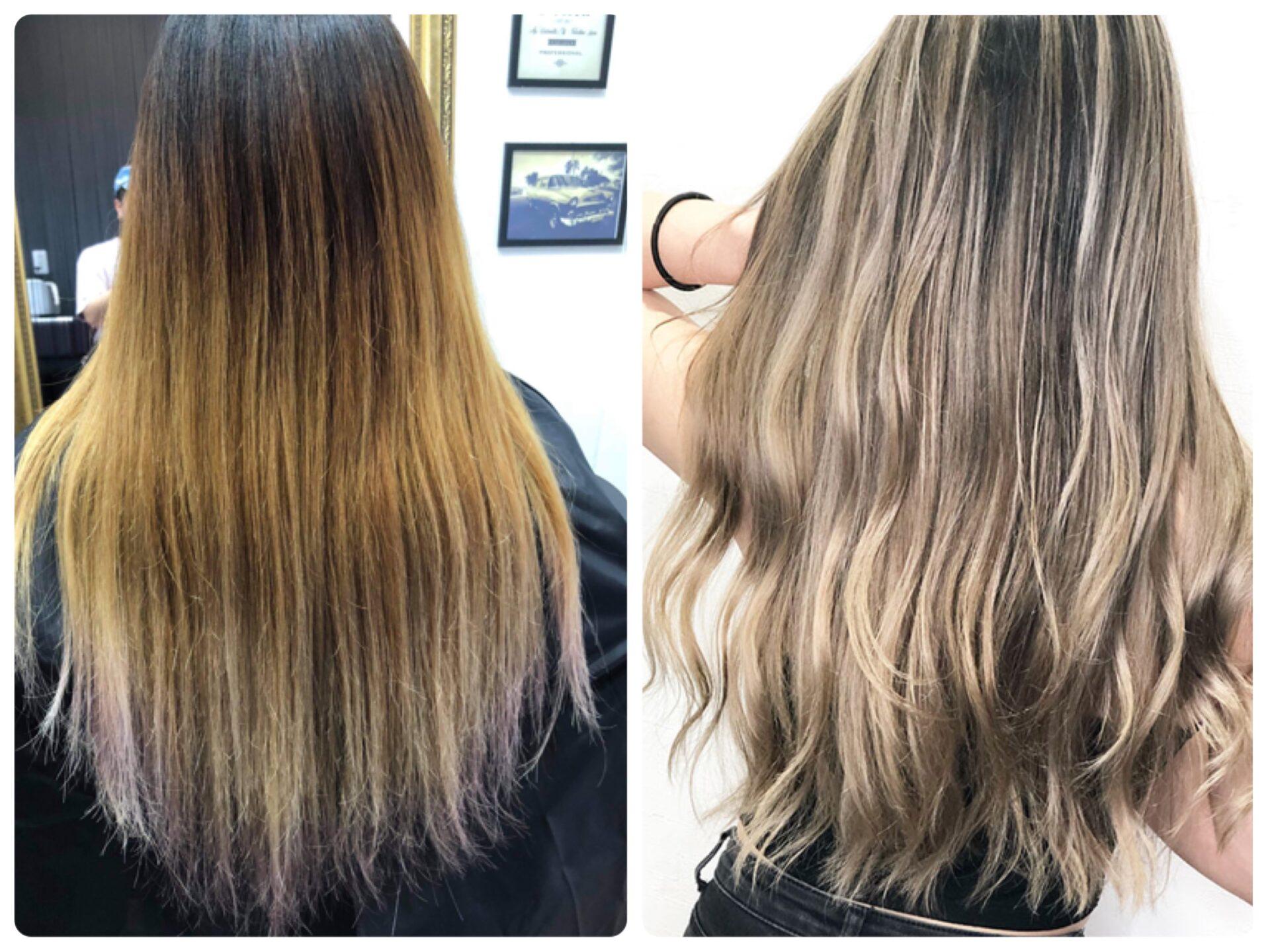 ロング バレイヤージュの髪型・髪色